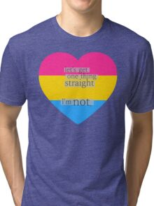 Let's get one thing straight, I'm not - Pansexual heart flag Tri-blend T-Shirt