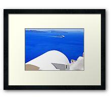 Santorini's Blue Whiteness Framed Print