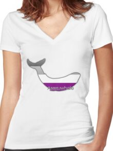 Asexuwhale - Asexual whale Women's Fitted V-Neck T-Shirt