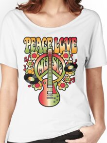 Peace-Love-Music Women's Relaxed Fit T-Shirt