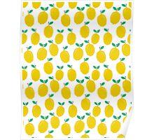Lemons - Tropical citrus summer fresh modern pattern bright garden vegetables vegan Poster