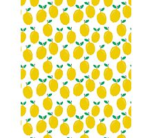 Lemons - Tropical citrus summer fresh modern pattern bright garden vegetables vegan Photographic Print