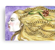 Girl with Braids Canvas Print