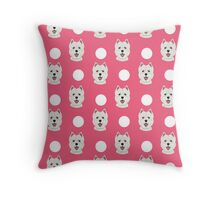 Highland Terrier polka dots pink funny dog gift customizable gifts for dog lover dog person presents Throw Pillow