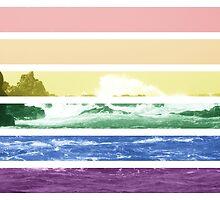 LGTB flag on waves crashing by Margotte