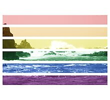 LGTB flag on waves crashing Photographic Print