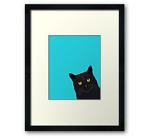 Black Cat peeking around the corner funny cat person gift for cat lady hipster black cat ironic art Framed Print
