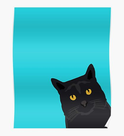 Black Cat peeking around the corner funny cat person gift for cat lady hipster black cat ironic art Poster