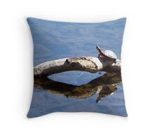 Painted turtle sunning himself. Throw Pillow