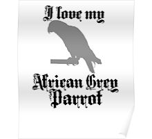 I Love My African Grey Parrot Poster