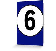 6, Sixth, Number Six, Number 6, Racing, Six, Competition, on Navy Blue Greeting Card