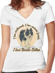 I love Border Collies Women's Fitted V-Neck T-Shirt