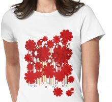 Floral bar code Womens Fitted T-Shirt