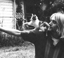 Kurt Cobain w/ a cute cat by vampirebanquet