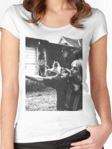 Kurt Cobain w/ a cute cat Women's Fitted Scoop T-Shirt