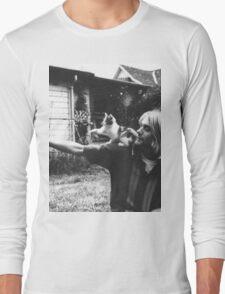 Kurt Cobain w/ a cute cat Long Sleeve T-Shirt