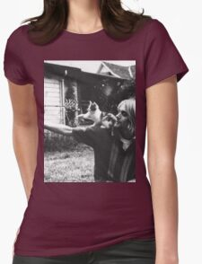 Kurt Cobain w/ a cute cat Womens Fitted T-Shirt