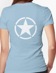 ARMY, American Star, Star & Circle, Jeep, WWII, America, American, Americana,  USA, White on Black Womens Fitted T-Shirt