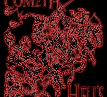 Four Horsemen of the Apocalypse, Durer, Retribution Cometh & Hell's Close behind! Biblical, red shadow on black by TOM HILL - Designer