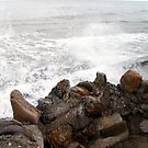 Wave breaker moment Flamborough UK  by patjila