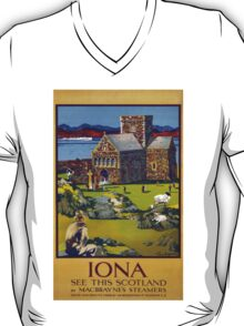 Iona Scotland Vintage Travel Poster Restored T-Shirt