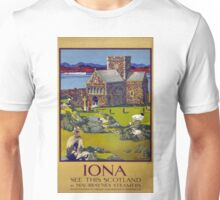 Iona Scotland Vintage Travel Poster Restored Unisex T-Shirt