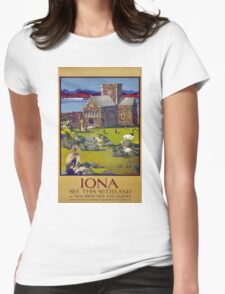 Iona Scotland Vintage Travel Poster Restored Womens Fitted T-Shirt