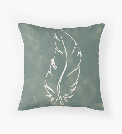 Green feather Throw Pillow