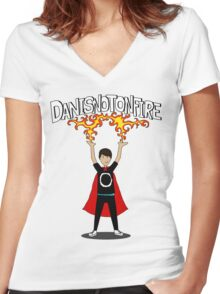 Danisnotonfire: the Superhero Women's Fitted V-Neck T-Shirt