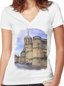 Street in Oxford  Women's Fitted V-Neck T-Shirt