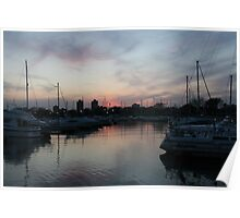 Sunset at the Harbor Poster