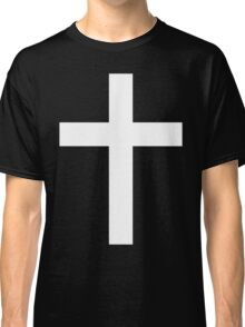 Christian Cross White on Black Classic T-Shirt