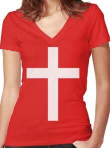 Christian Cross White on Black Women's Fitted V-Neck T-Shirt