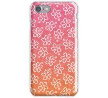 Pink Orange Ombre Hibiscus Pattern iPhone Case/Skin
