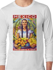 Mexico Vintage Travel Poster Restored Long Sleeve T-Shirt