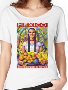 Mexico Vintage Travel Poster Restored Women's Relaxed Fit T-Shirt