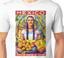 Mexico Vintage Travel Poster Restored Unisex T-Shirt