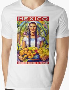 Mexico Vintage Travel Poster Restored Mens V-Neck T-Shirt