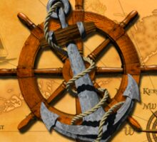 Nautical Ships Wheel And Anchor Sticker