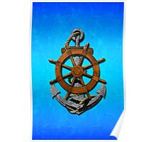 Nautical Ships Wheel And Anchor Poster