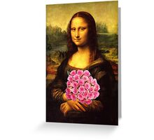 Mona Lisa Loves Pink Roses Greeting Card