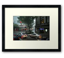 Streets of Singapore city under the rain Framed Print