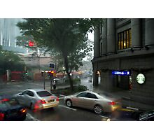 Streets of Singapore city under the rain Photographic Print