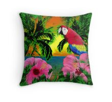 Palm Trees And Island Sunsets Throw Pillow