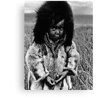 USA Alaska eskimo boy 1970s Canvas Print