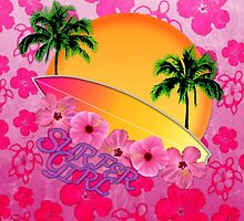 Surfer Girl Pink Hibiscus by BailoutIsland