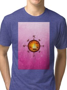 Sailboat And Compass Rose Pink Tri-blend T-Shirt