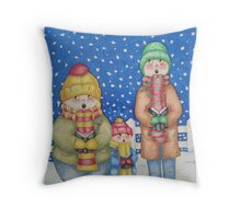 funny carol singers in the snow Christmas art Throw Pillow