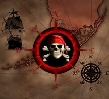 Pirate Compass Rose And Map by BailoutIsland