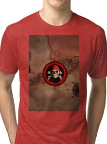 Pirate Compass Rose And Map Tri-blend T-Shirt